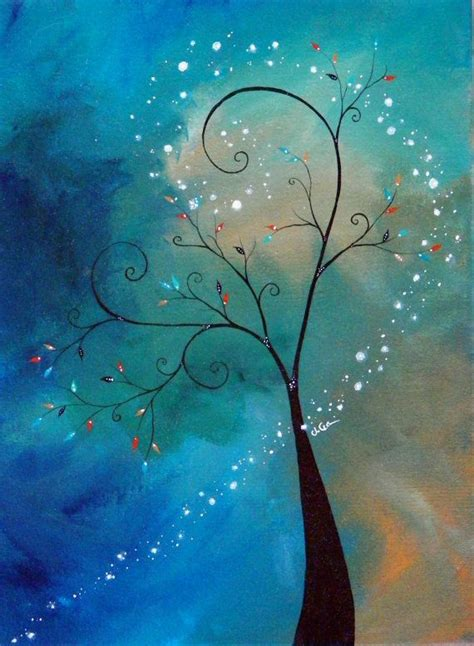 how to cover acrylic paint on canvas winter tree acrylic painting