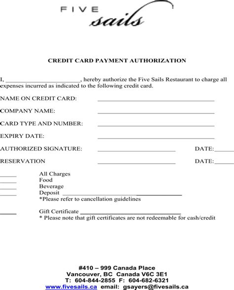 Restaurant Credit Card Authorization Form Template by Credit Card Payment Authorization Template For