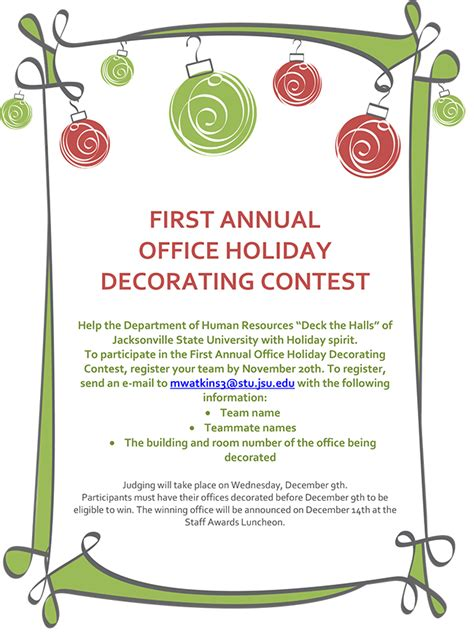 100 cubicle decorating contest flyer