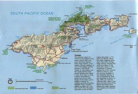 large detailed road and relief map of tutuila island american samoa vidiani com maps of all