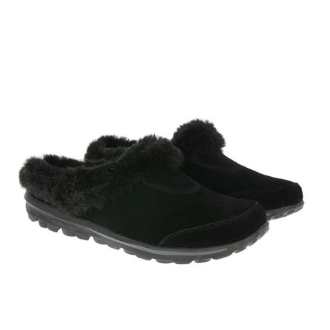 walk slippers skechers go walk slippers 13660 cozy black shoetique co uk