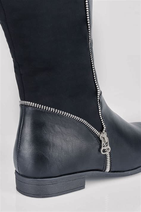 Boots Gift Cards Terms And Conditions - black zip detail wide calf riding boots with contrast panel in eee fit 4eee to 10eee