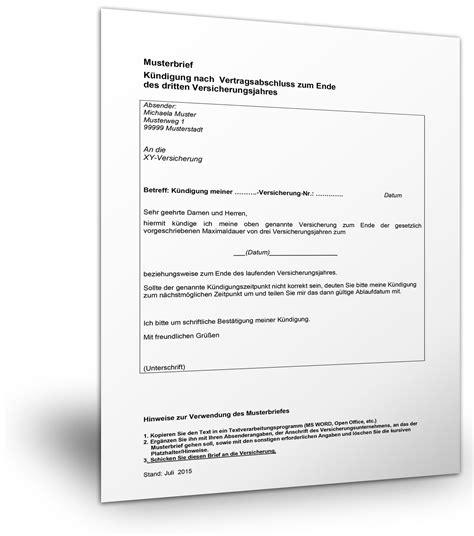 Brief An Versicherung Muster Musterbrief Versicherung K 252 Ndigen