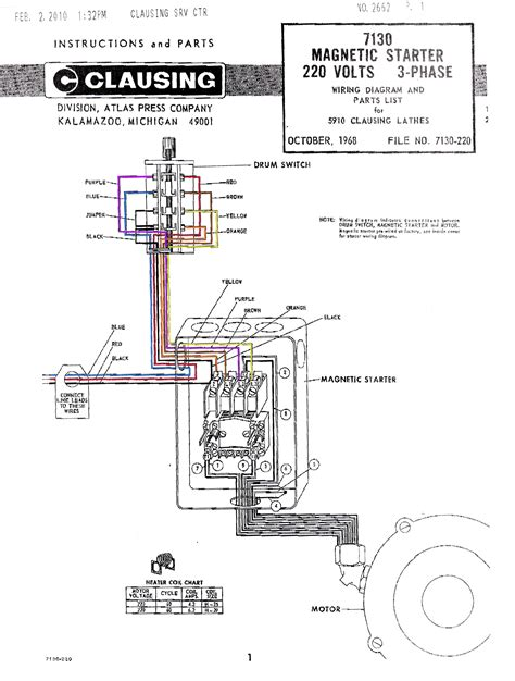 7130 magnetic starter wiring diagram color jpg of clausing