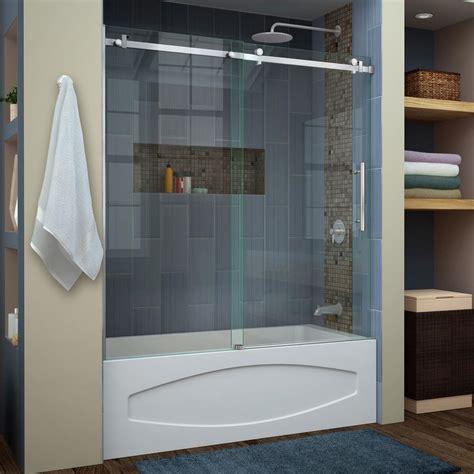 sliding shower doors for bathtubs dreamline enigma air 56 in to 60 in x 62 in frameless
