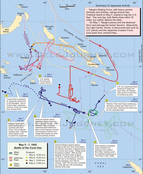coral sea map battle of the coral sea on may 5 7 1942