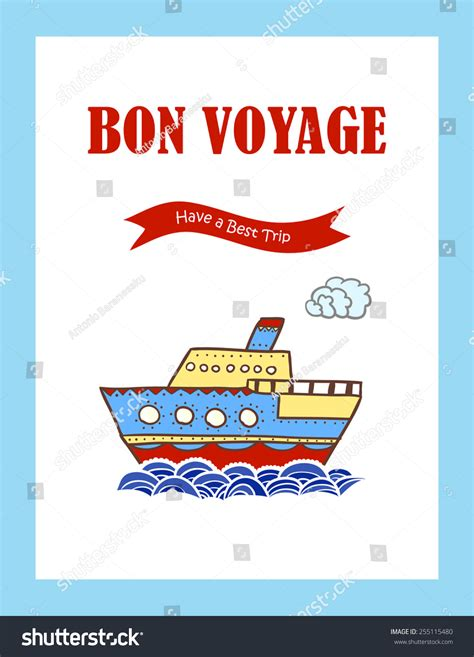 bon voyage greeting card template bon voyage journey greeting card stock vector