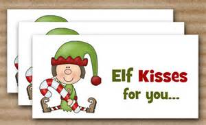 Christmas treat bag topper elf kisses instant download printable
