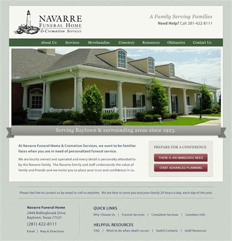 navarre funeral home website design on behance