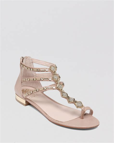 vince camuto flat shoes vince camuto flat sandals hanelli in gold sandbar lyst