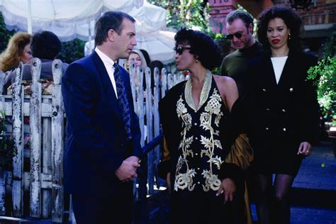 biography of movie bodyguard pin still of kevin costner whitney houston and michele