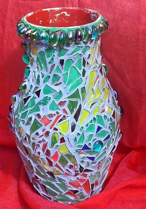 Broken Glass Vase by Upcycled Vase Covered With Broken Glass Mosaic Made By