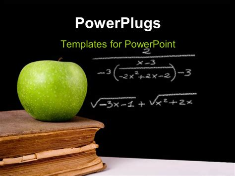 powerpoint template green apple on vintage book with