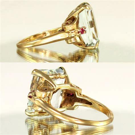 Ruby 9 05ct large deco 14k gold 9 05ct emerald cut aquamarine ruby