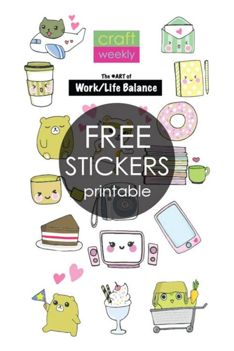 printable homemade stickers cute and easy craft free kawaii planner bookmark printable
