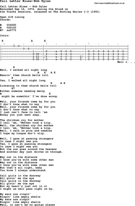 Letter Chords Blues Guitar Lesson For Call Letter Blues Bob With Chords Tabs And Lyrics