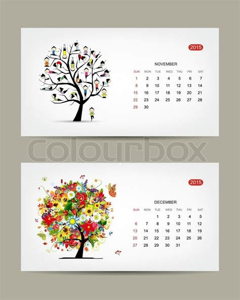 calendar design november calendar 2015 november and december months art tree