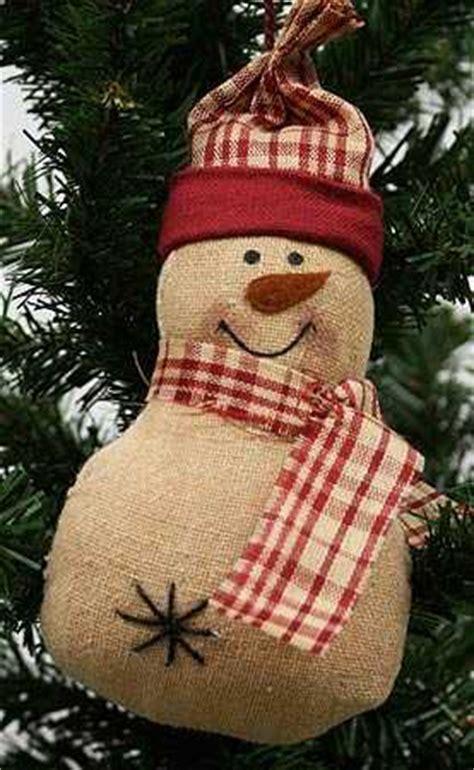 Primitive Fabric Snowman Ornament   Christmas Ornaments
