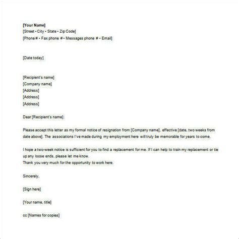 Formal Resignation Letter Via Email Sle Copy Of Email Resignation Letter Resume Layout 2017