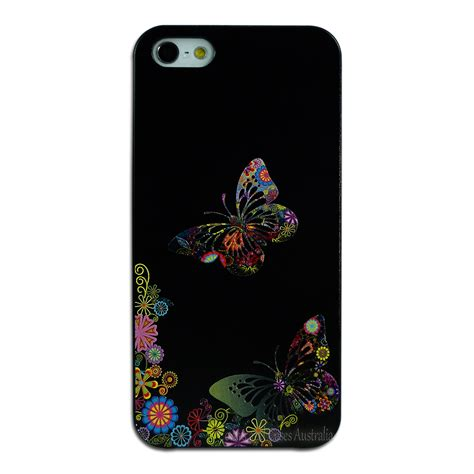 Original Butterfly Plastic For Iphone 5 5s Se Ps30 White black butterfly flower back for apple iphone 5 5s se plastic cover