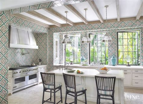 portuguese palace inspired tile clad kitchen luxe