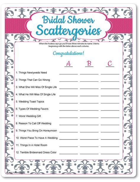 printable bridal shower games printable bridal shower scattergories funsational com