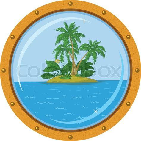 boat window clipart tropical sea island mit palmen aus der bronze schiff
