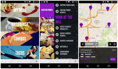 taco bells  app lets  order food   time android