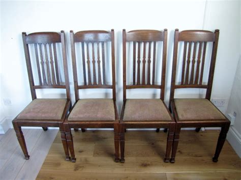 Arts And Crafts Dining Chairs Set Of Four Oak Arts Crafts Dining Chairs 249209 Sellingantiques Co Uk
