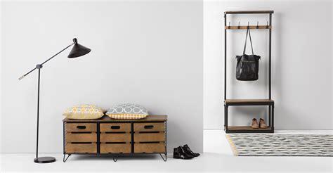 Multiplek 1 8 Cm layne meuble d entr 233 e bois de manguier et acier noir