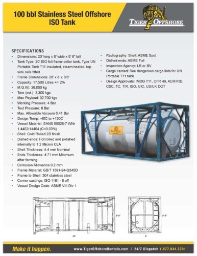 100 bbl stainless steel iso transport tank tiger offshore rentals