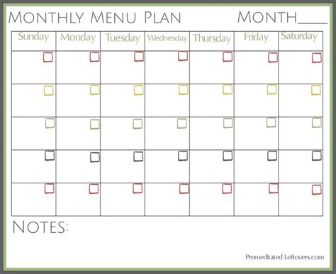 ideas monthly menu pinterest meal
