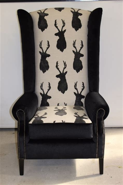bespoke high back wing chair eclectic armchairs and