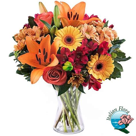 arancio fiori bouquet con lilium arancio gerbere e fiori