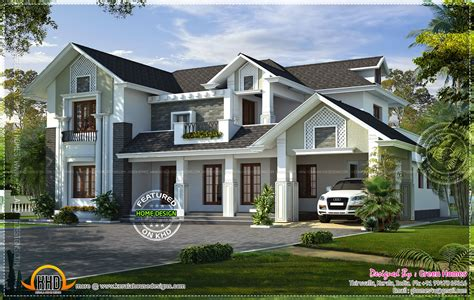 home style western style house rendering kerala home design and