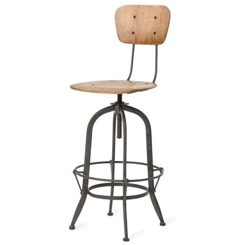 Industrial Bar Stool With Back Industrial Loft Wood Iron Barstool With Back Kathy Kuo Home