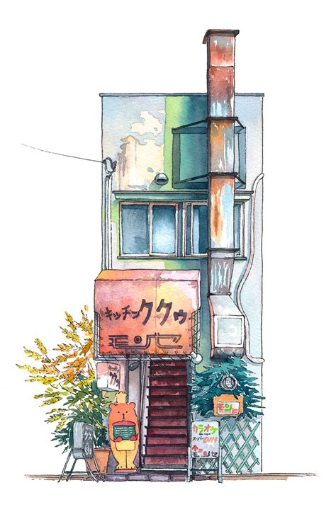Designer Series Utile Factory Corner - amazing tokyo storefront illustration series by mateusz