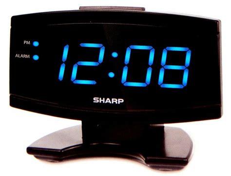 sharp large 1in blue led display digital alarm clock electric beep snooze black ebay
