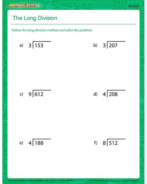 Printable Worksheets On Long Division | math division worksheets
