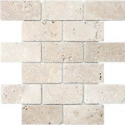 shop anatolia tile chiaro tumbled subway mosaic travertine