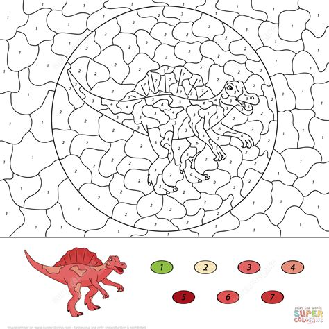 color a dinosaur dinosaur coloring pages by numbers coloring home