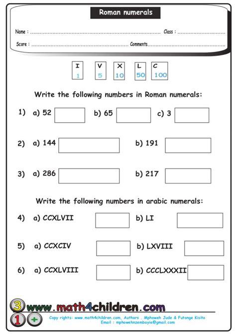 20 luxury numerals to hindu arabic worksheet images
