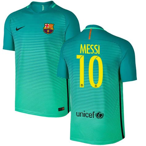barcelona uniform nike lionel messi barcelona green 2016 17 authentic third