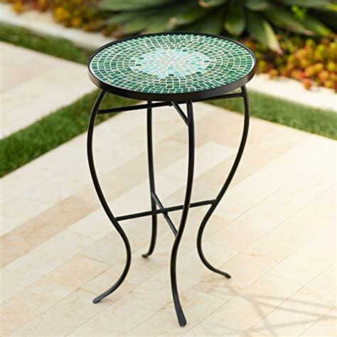 outdoor mosaic accent table bella green mosaic outdoor accent table furniture