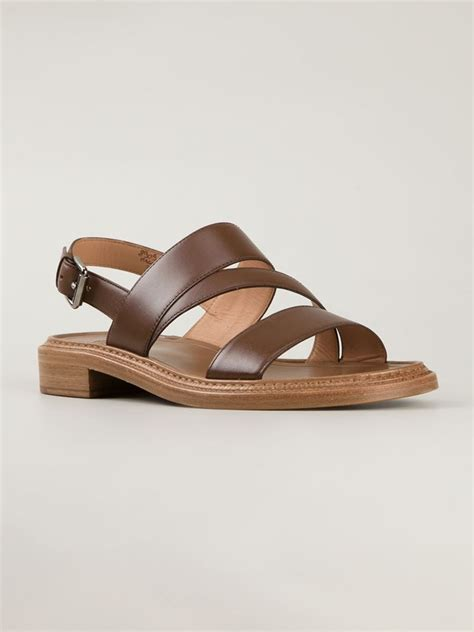flat brown sandals lyst church s strappy flat sandals in brown