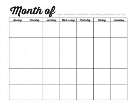 Blank Calendar Template For free printable blank calendar printable calendars blank