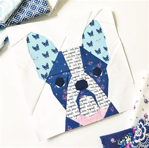 paper pattern in french french bull dog 10 block pdf paper piecing pattern 10 x