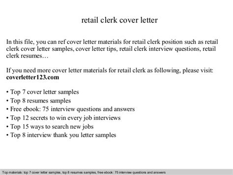 Retail Store Clerk Cover Letter by Retail Clerk Cover Letter