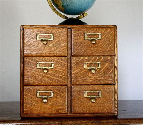 vintage card catalog six drawer quarter sawn tiger oak