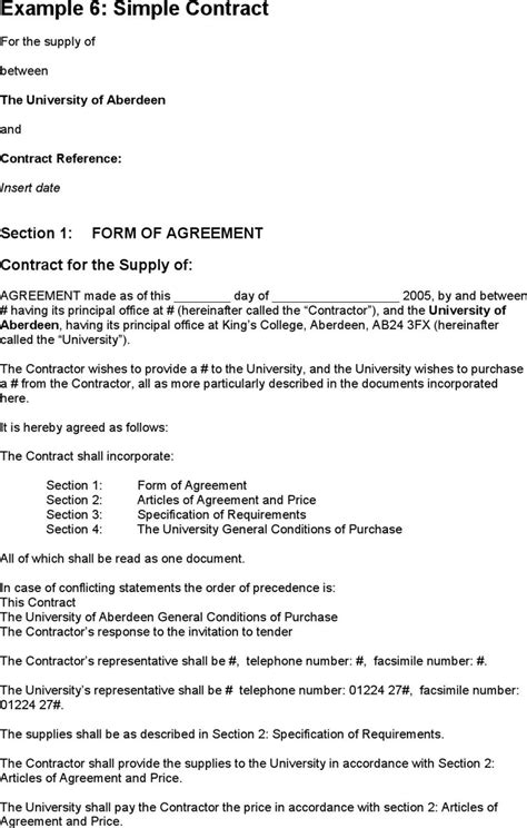 one page contract template free simple contract exle formxls